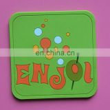Custom company logo square shape soft pvc rubber cup coaster mat