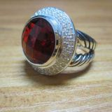 Sterling Silver Jewelry 14mm Red Garnet Cerise Ring(R-120)