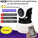 1080P indoor 4G WIFI IP IR 128G SD card Two ways audio PTZ camera with Rechargeable Li-battery