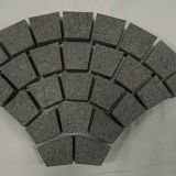 Black Grey Granite Cobble Stone Brick Fan Shape Outdoor Road Heavy Duty Mesh Backside Paving Stone Tiles