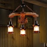 Hotel anchor wood vintage decoration chandelier lighting in Zhongshan