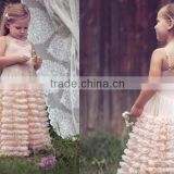 rustic flower girl dresses, lace flower girl dress, champagne flower girl dress, ruffle baby dress                                                                                                         Supplier's Choice