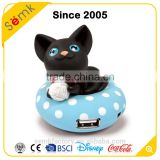 Novelty fancy animal black cat shape blue power bank charger usb hub
