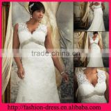 Excellent Scalloped Neckline Strapless Appliques with Beads Empire Waistline Lace Plus Size Wedding Dresses