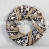 New style silver rattan christmas wreath with star decoration