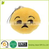 Cute Small Round Soft Emoji Smiley Emoticon Cushion Pillow Stuffed Plush Toy Doll Strap Keychain