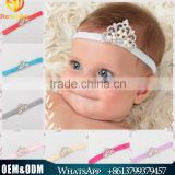European kids headbands new arrival baby girl pearls crown headbands infant baby elastica hair bands
