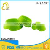 quality assurance different size green round plastic dog bowl