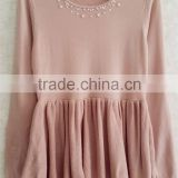O-neck knitting wear short beaded one-piece dress long lady pullover