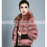 QD20079 Winter Red Jackets for Women of Raccoon Fur and Rabbit Fur Leather Jackets Nutribullet
