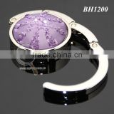 Purple Crystal Diamonds Round Shaped Zinc Alloy Silver Plated Metal Folding Wholesale Handbag Holder