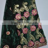 V125-4 green bridal velvet lace embroidered velvet fabric material with sequins