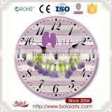 Bird pattern style purple lavender bouquet decoration gift clock for hall