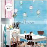 2016 new printing special effect wallpaper, lovely fire balloon wall sticker for baby room , washable wall mural dealer