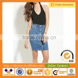 Supply Chain Management Board Shorts Ladies Denim Black Lined Pencil Buttoned Skirt For Women Mini
