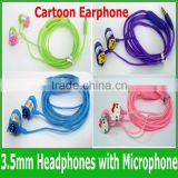 2015 Hot Sale Factory Price Fashion Cartoon Earphones 3.5mm In-Ear Headphones with Microphone For MP3 mp4 Smart Mobilephone
