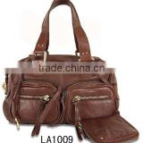 (LA1009) 2016 Wholesale Women Designer Brown Plain Genuine Leather Purse Handbag