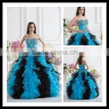 Real Sample Sweetheart Ball Gown Black Beaded Layered Ruffles Quinceanera Dresses xyy07-060