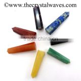 Chakra Set wholesale Pencil 6 to 8 Facets Single Terminated Point Khambhat Gujarat India crystal waves
