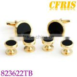 Custom fashionable agate gold plated cufflink and studs set