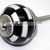 Ceramic Drawer Pull Knobs with Metal Fittings - Black & White Series