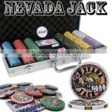 Nevada Jack Casino Ceramic Custom Poker Chip Set with Aluminum Case - 300 Piece