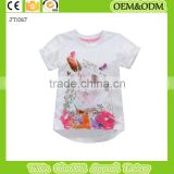 2015 Printing t-shirt White t shirt rabbit girl t shirt baby clothes wholesale price organic kids