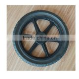 14x1.75 inch semi pneumatic rubber wheel with diamond tread and black plastic rim for mowers or material handling equipment