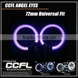 Purple green white blue yellow orange red universal full circle 72mm CCFL angel eyes ring 12V car headlights angel eyes ring