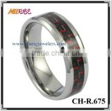 Hottest Wholesales Red & Black Carbon Fiber Inlay Tungsten Ring