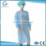 Disposable nonwoven/SMS blue Surgical gown/ isolation gown patient gown with elastic and knit cuff