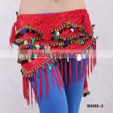 Tribal belly dance sequin hip scarf with tassels belly dance coins scarf