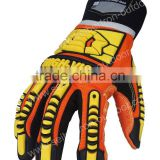 HIGH-VIS CE EN388 4232mechanic impact resistant work ,Oilfield & Gas Drilling Safety Gloves, PVC Dots, Earthquake Rescue Gloves