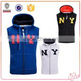 New Design Hot Selling NY Young Men Hiphop Style 100% Cotton Fleece Sleeveless Hoody Vest With High Quality