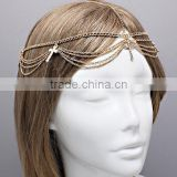 Rhinestone Crystal Cross Charm Multi Layer Wave Tassel Head Piece Hair Band Head Chain Jewelry