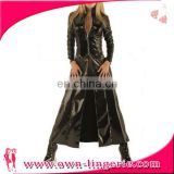 Sexy Black Leather coat erotic lingerie Wet Look PVC Gothic Coat Dominatrix Fetish vinyl lingerie