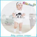Elinfant baby summer organic cotton plain romper baby cloth with cartton pattern