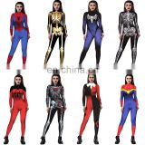 Spiderman Costume 3D Print Red Blue Spider-Man Bodysuit for Halloween Cosplay Costume Sexy Tight Rompers Womens Jumpsuit
