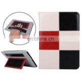 Grid Pattern Leather Case with Holder & Card Slots & Hand Strap for iPad 6
