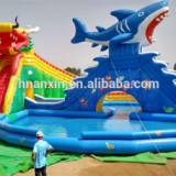 Commercial multiplay activity centre,Dragon And Shark Theme Land Inflatable Water Park For Sale