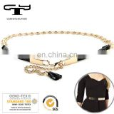 delicate thin gold with leather metal chain belt