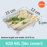 100 Pack 420 ML Thicken Aluminum Foil Pans (No Cover), Rectangular Aluminum Foil BBQ Box,Environmentally Friendly Disposable Lunch Box, Disposable Foil Pan for Cake,Cooking,Baking,Storage