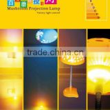 projector mushroom lamp , Mulityfuncation Colors changing nigt light 3D Marshroom silicone LED night lamp with ray sensor