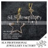 Star shape fashion earring costume jewelry make in China 925 silver jewellery earring yellow gold plated earring