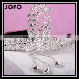 2015 Luxury Sparkling Sliver Plated Style Crystal Princess Wedding Party Crown Tiara Hairband Women Bridal Hairwear