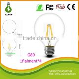 110v 240v filament light E27 e14 UL ce rohs certificate All glass no plastic 4w bulb led filament with g80