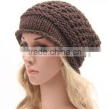New Fashion Women's Lady Beret Braided Baggy Beanie Crochet Warm Winter Hat Ski Cap Wool Knitted Wholesale FH-163