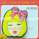 Promotional soft pvc gift fridge sticker/girl shape sticker
