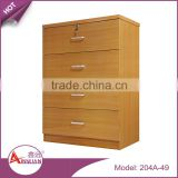 Living room furniture 4 tier chest drawers storage beech color mdf corner wood drawer cabinet