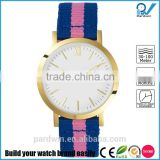 inspiration pink and blue wristband nylon women dress watch small polished gold stainless steel case and buckle
